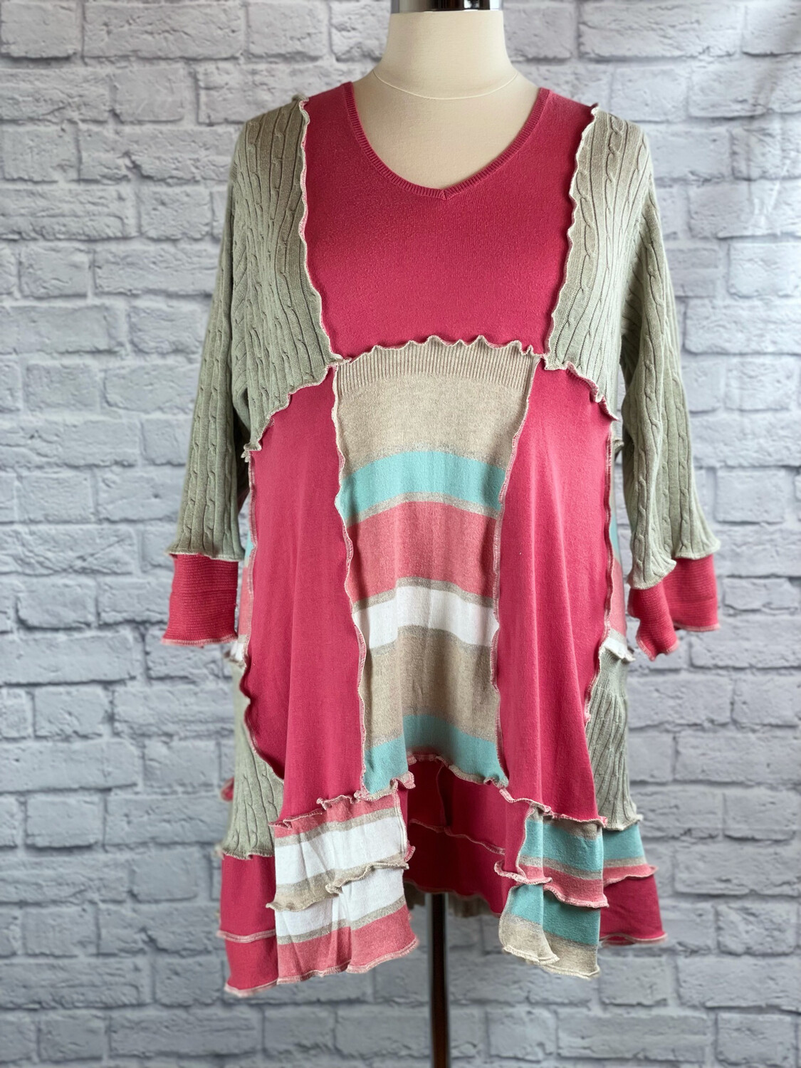 S Threads Upcycled Sweater Dress Patchwork Size 3X/4X