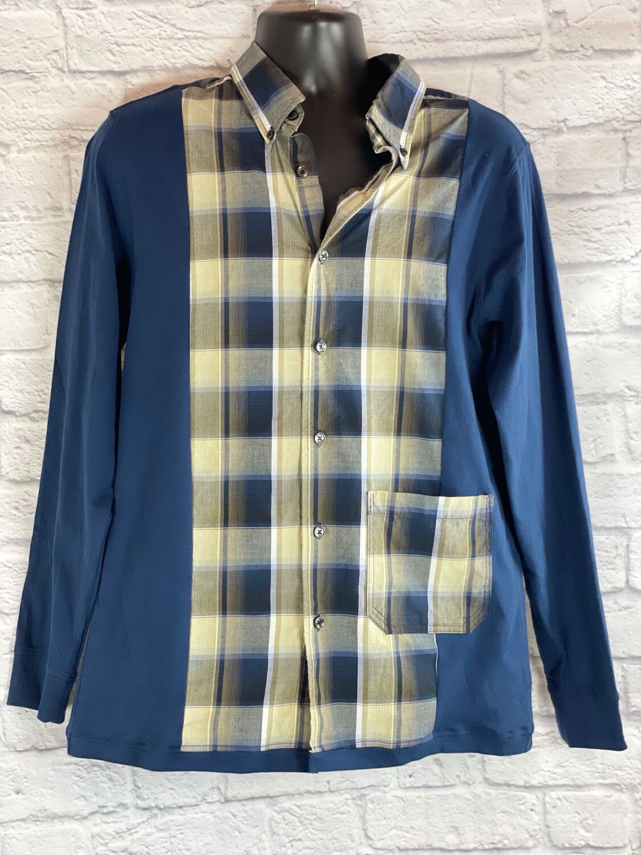 S Threads Upcycled Mens Long Sleeve Collar Tshirt Mashup Size Medium