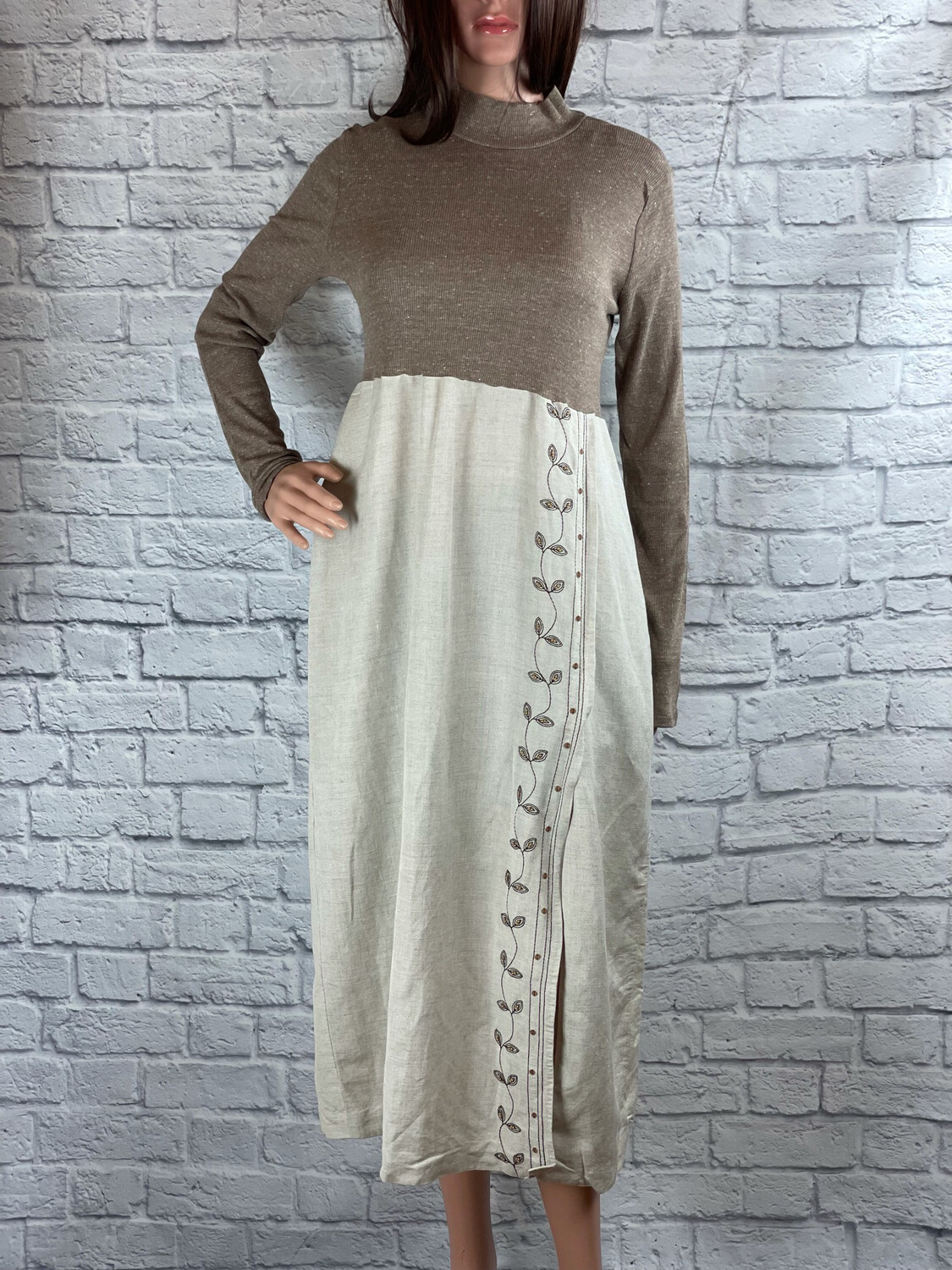 S Threads Upcycled Dress High Neck Long Sleeve Size M/L/XL
