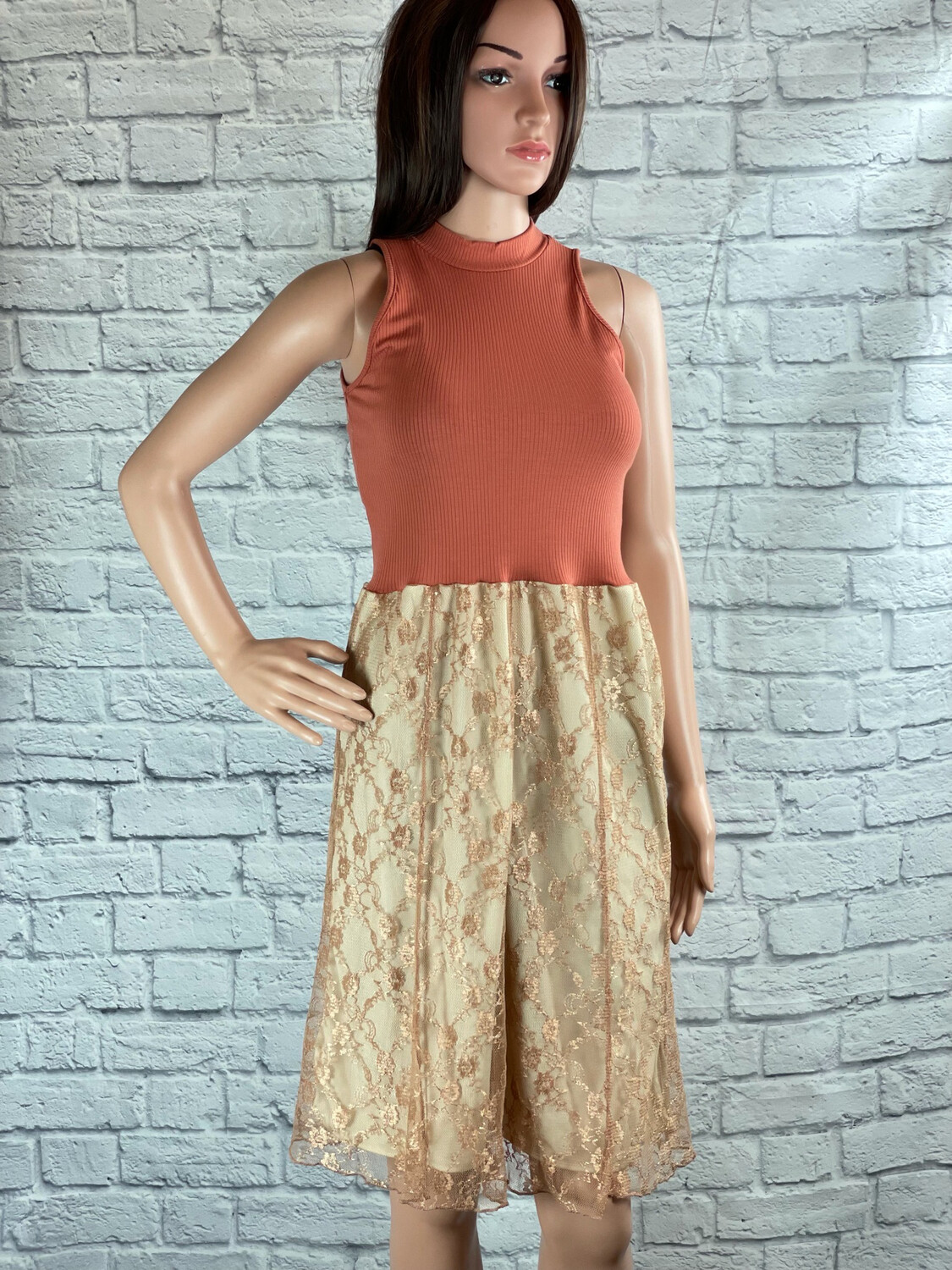 S Threads Upcycled Dress High Neck Lace Size XS/S/M