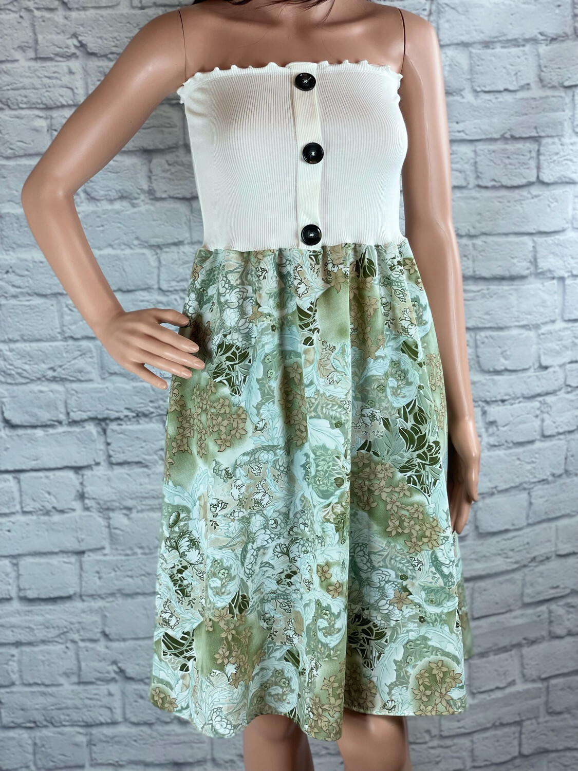 S Threads Upcycled Dress Strapless Button Floral Size XS/S/M