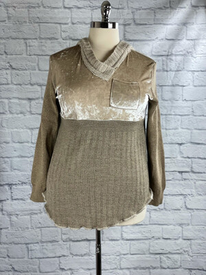 S Threads Upcycled Sweater Top Hooded Velvet Size XL/2X/3X