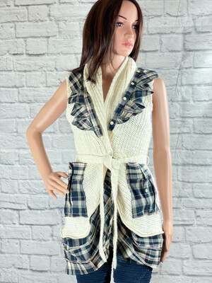 S Threads Upcycled Vest Sweater W Plaid Ruffle Size M/L