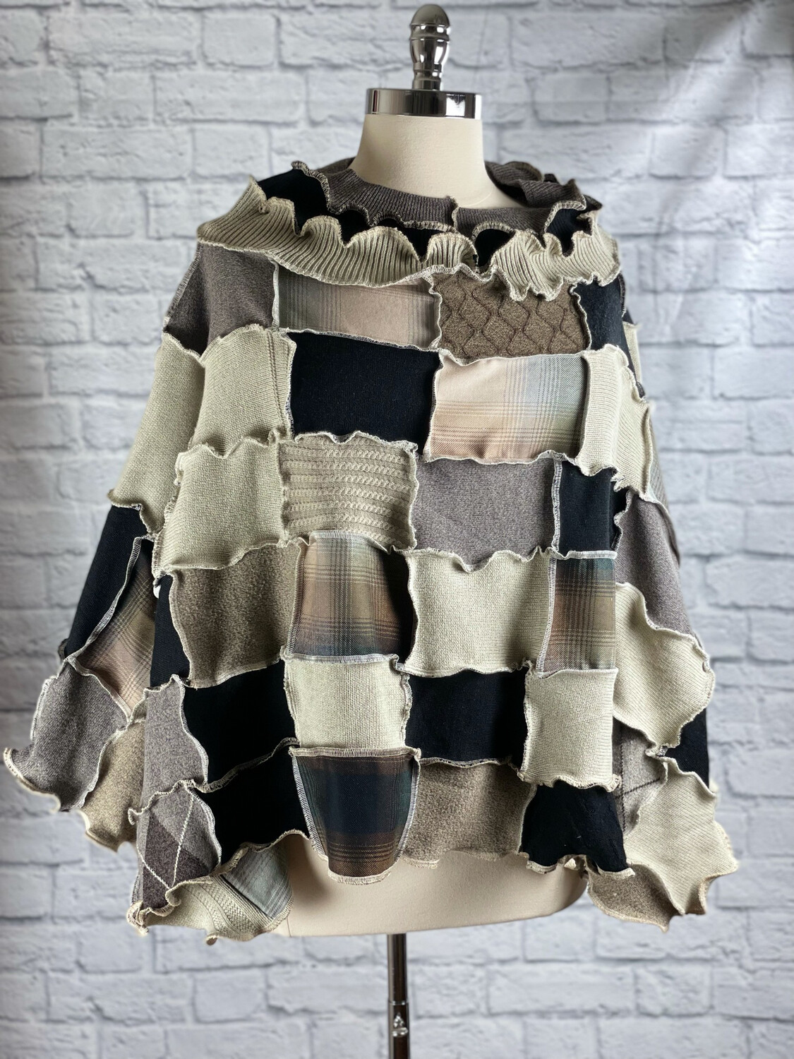 S Threads Upcycled Poncho Cape Sweater Patchwork One Size