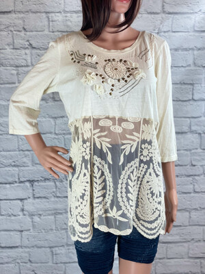 S Threads Upcycled Top Cream Lace Peek Thru Size L/XL