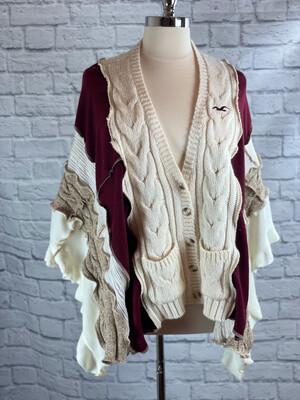 S Threads Upcycled Poncho Sweater Burgundy & Cream Size OS