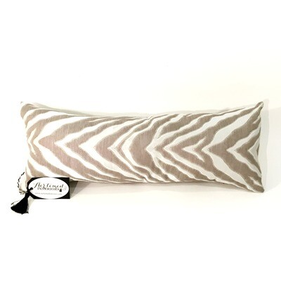 Beige and White Animal Print Lumbar Pillow