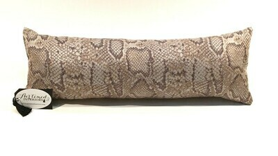 Brown and Champagne Faux Snake Lumbar Pillow