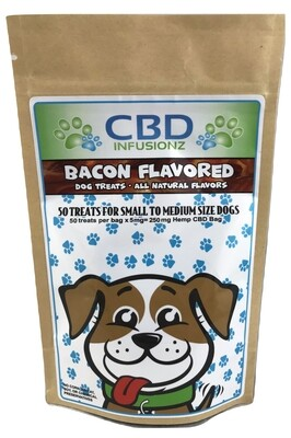 250mg Bacon Flavored Natural Dog Treats f Small to Medium Dogs - 50ct Bag (5mg per treat)