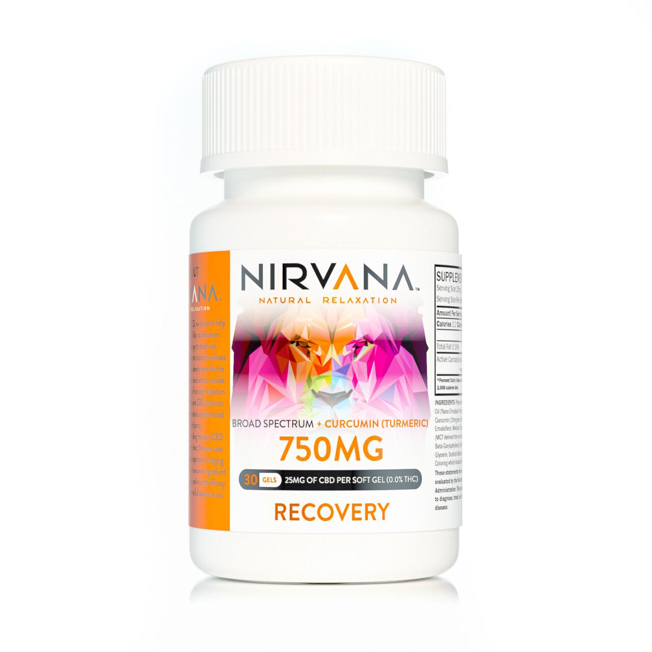 NIRVANA 750mg Broad Spectrum Recovery Gel Capsules - 30 CT - 25mg per capsule w/ 10mg Circumin (Tumeric)
