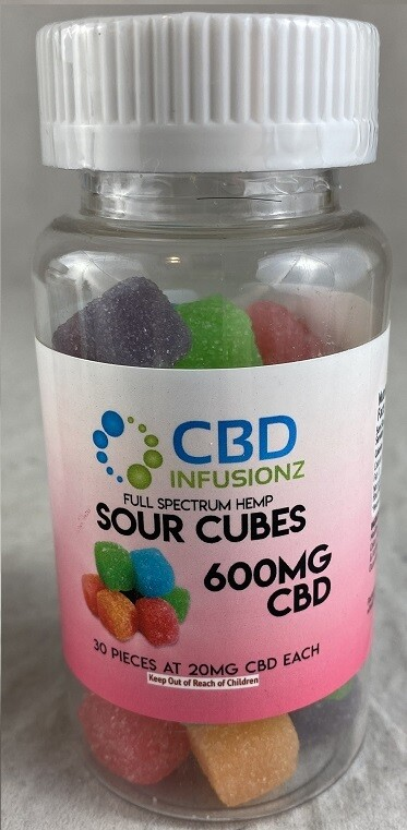INFUSIONZ 600mg Full Spectrum Sour Cube Gummies - 30CT (20mg each)