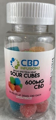INFUSIONZ 600mg Broad Spectrum Sour Cube Gummies - 30CT (20mg each)