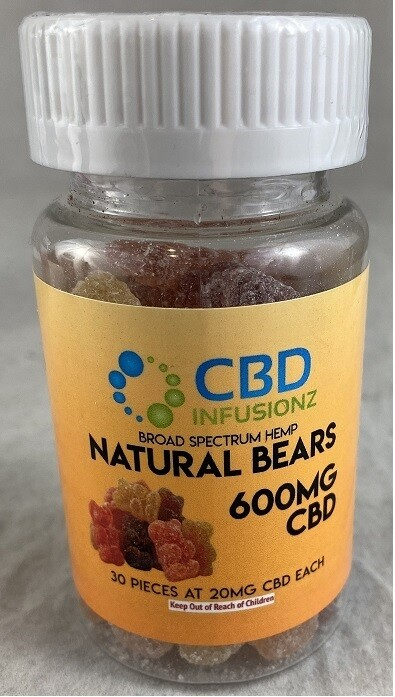 INFUSIONZ 600mg Broad Spectrum Natural Gummy Bears - 30CT (20mg each)