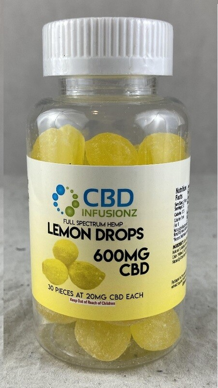 INFUSIONZ 600mg Full Spectrum Hard Candy Lemon Drops - 30CT (20mg each)