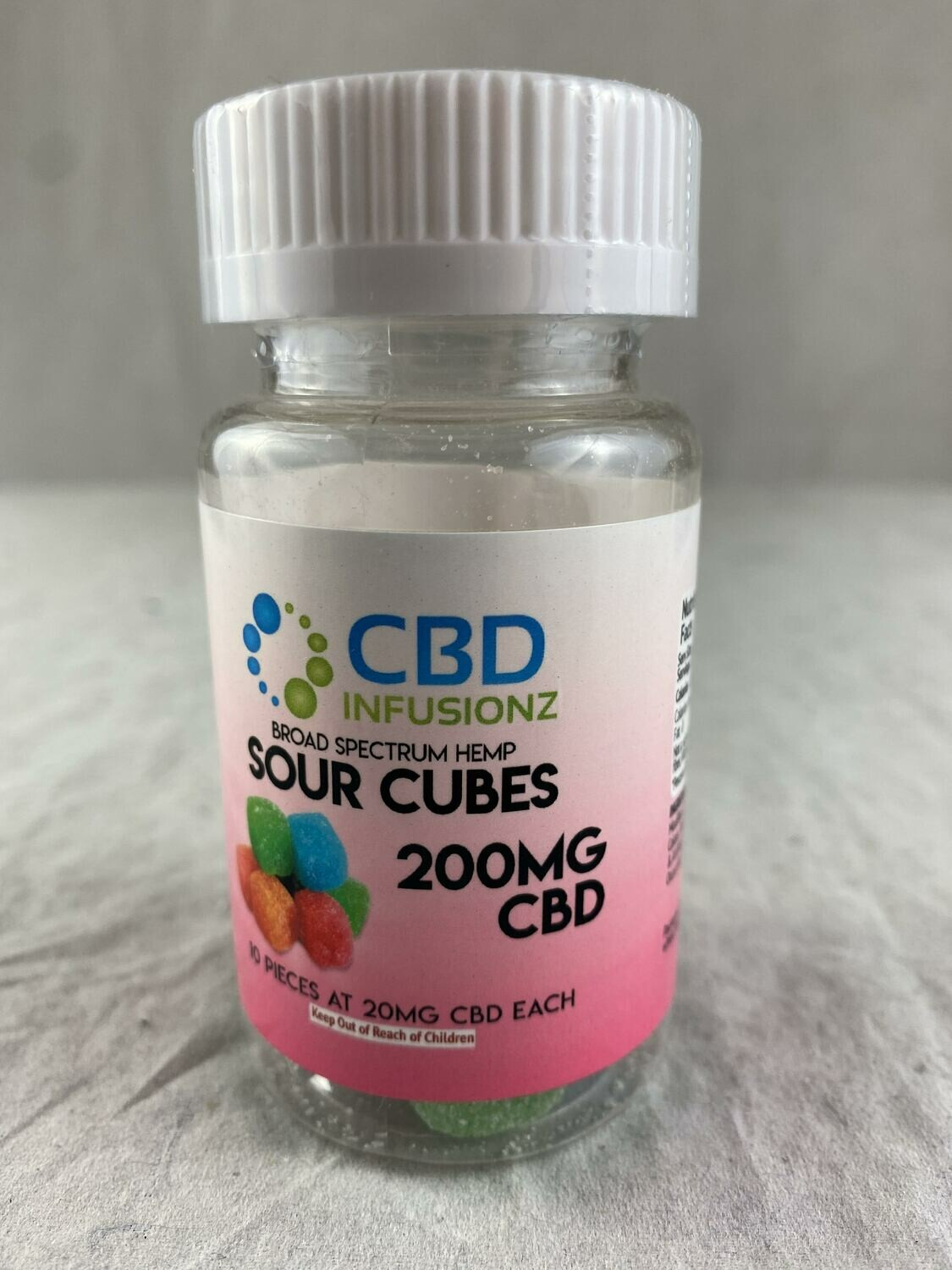 INFUSIONZ 200mg Broad Spectrum Sour Cube Gummies - 10CT (20mg each)