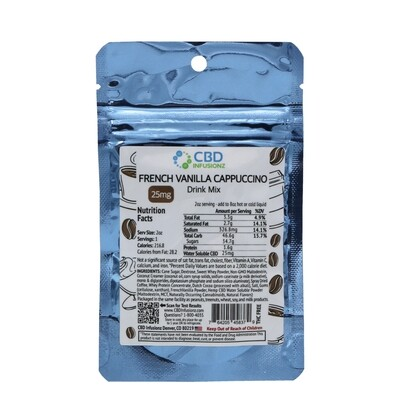 INFUSIONZ Water Saluble French Vanilla Cappuccino Drink Mix (25mg each)