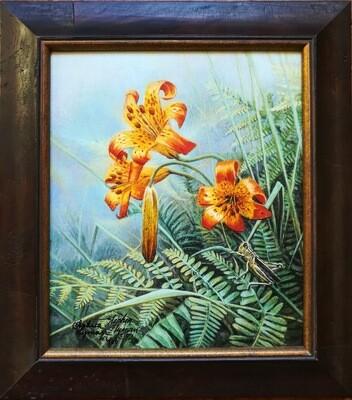 Tiger Lilies & Grasshopper - Framed