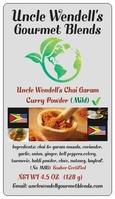 Uncle Wendell's Chai Garam Curry Powder MILD 4.5 oz