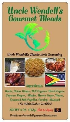 Uncle Wendell's Hot & Spicy Classic Jerk Seasoning -  5 oz Kosher Certified