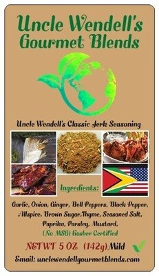 Uncle Wendell's Mild Classic Jerk Seasoning - 5 oz Kosher Certified