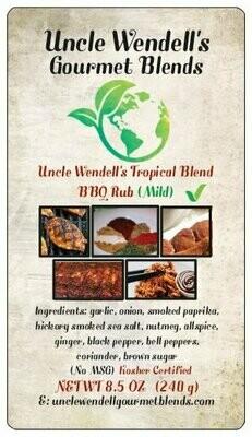 Uncle Wendell's Tropical Blend BBQ Rub (Mild) 8.5 oz. Kosher Certified.