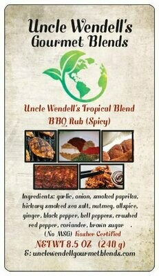Uncle Wendell's Tropical Blend BBQ Rub (Spicy) 8.5 oz. Kosher Certified.