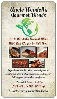 Uncle Wendell's Tropical Blend BBQ Rub (Sugar & Salt Free) 8.5 oz. Kosher Certified.