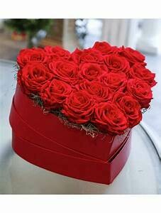 Beautiful Red Heart Box Two Dozen Roses Red