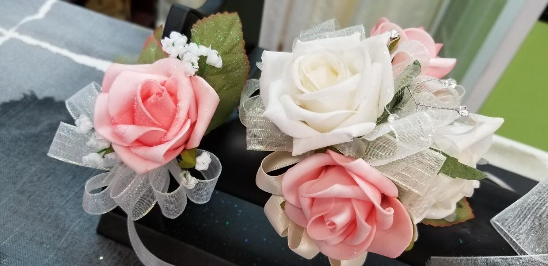 Pink White Wristlet & Boutonniere