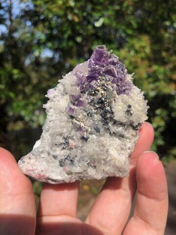 Fluorite And Rhodochrosite On Quartz