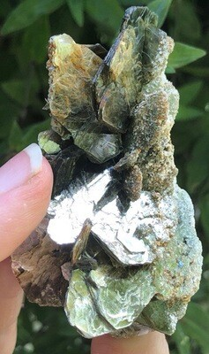 Green Muscovite With Albite And Red Rutile