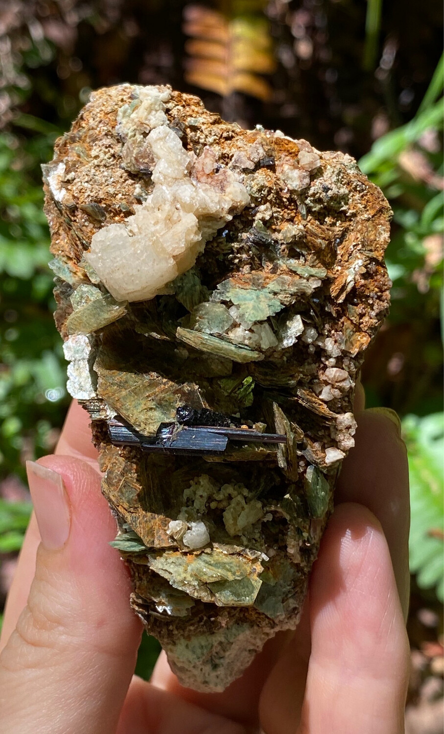 Greem Muscovite With Red Rutile And Albite
