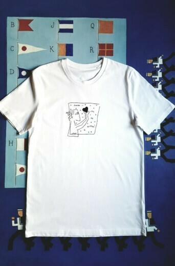 T-shirt: «Любовь — это не шутка» (handmade, white)