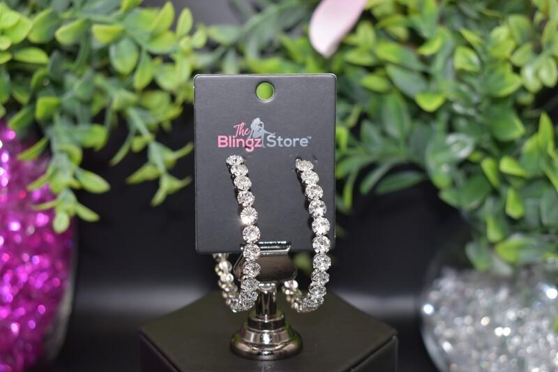 Rhinestone Hoops - Silver