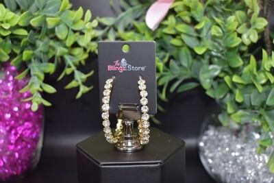 Rhinestone Hoop Earrings - Gold