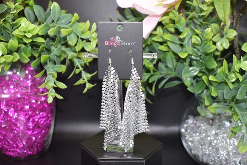 Sequin Mesh Earrings - Silver