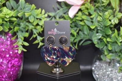Heart Acrylic Earrings - Multi