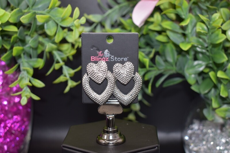 Studded Heart Door Knocker Earrings - Silver