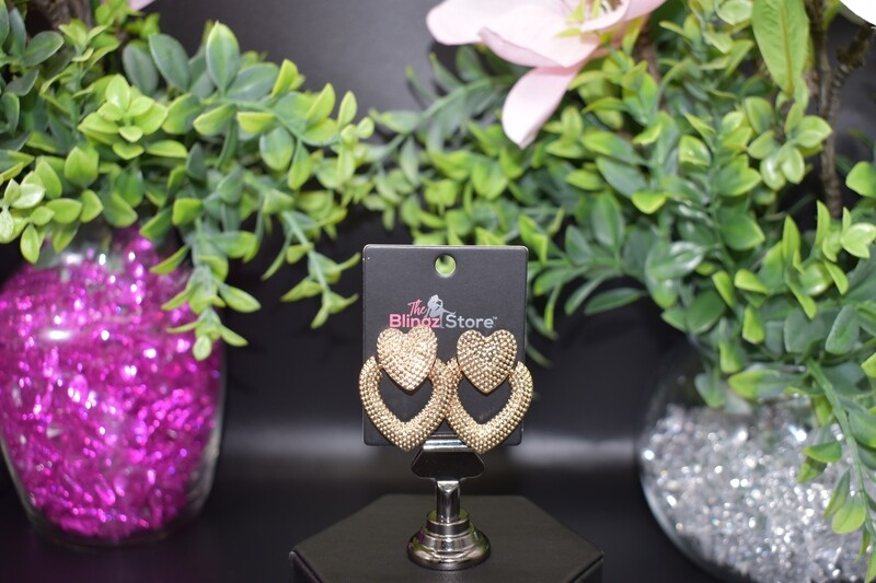 Studded Heart Door Knocker Earrings - Gold