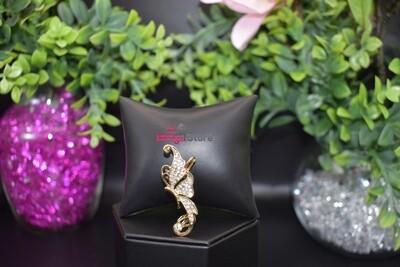 Rhinestone Butterfly Ear Crawler - Gold