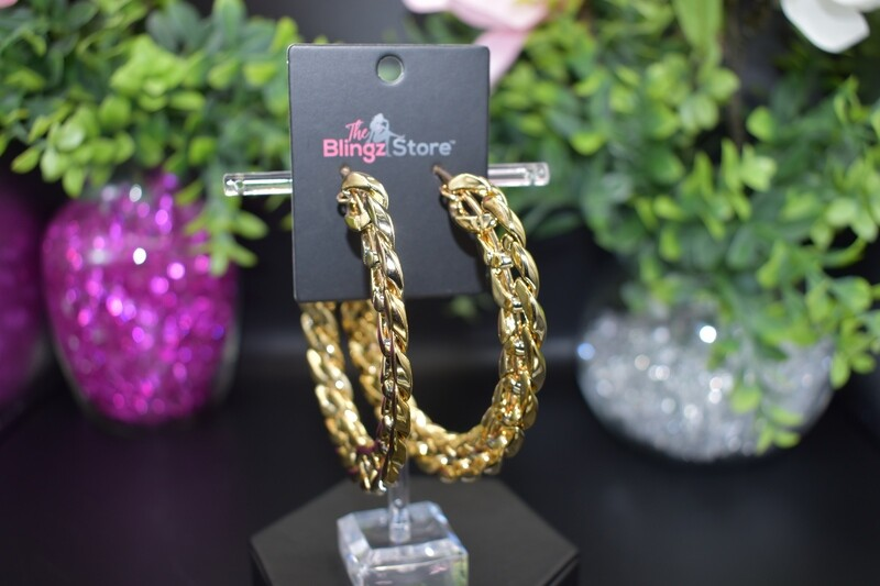Large Chain Hoops - Gold