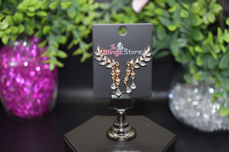 Rhinestone Tassel Ear Crawler - Rose Gold
