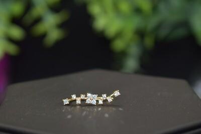 Rhinestone Floral Ear Crawler - Gold
