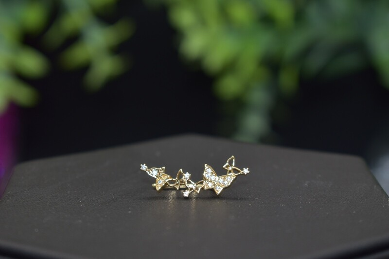 Small Butterfly Ear Crawler - Gold