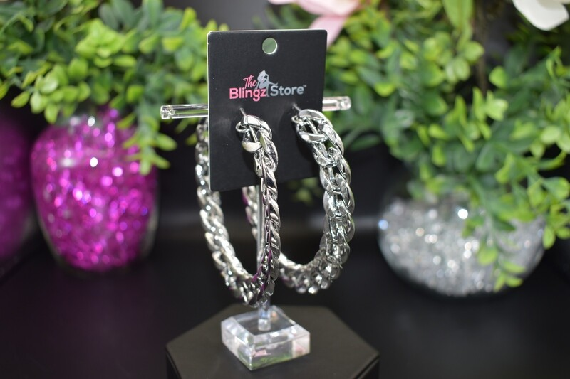 Large Chain Hoops - Silver