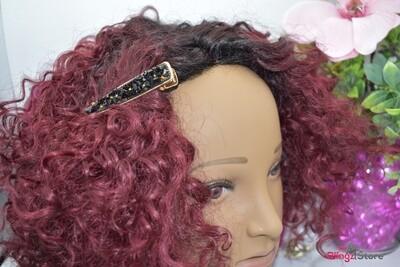 Crushed black stone hair clip