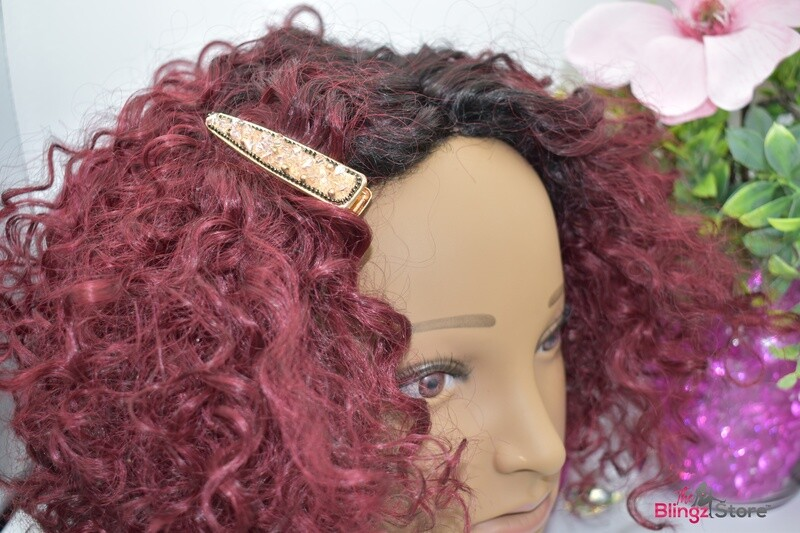 Crushed stone Hair clip - Gold