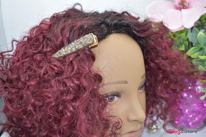 Crushed smoky stone hair clip
