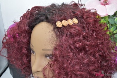 Gold tone crushed stone hair clip