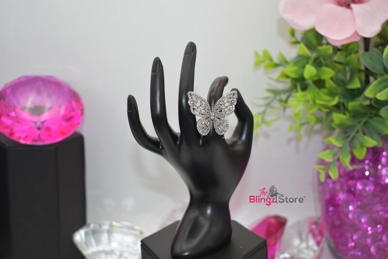 Rhinestone Butterfly - Silver